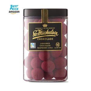 Fairtrade Schokolade mit Lakritz und Himbeer Chili Geschmack 250g von Sv. Michelsen Chokolade aus Dänemark
