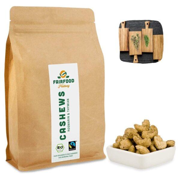 Leckere BIO und Fair gehandelte Cashewkerne mit Rosmarin & Thymian Geschmack Online kaufen bei World of Fair Trade