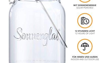 Solarlampe/Solar & USB-Laterne  SONNENGLAS im Einmachglas Classic 1000ml – warmweiß – Bekannt aus Galileo Pro7 – Original aus Südafrika, lies weiter