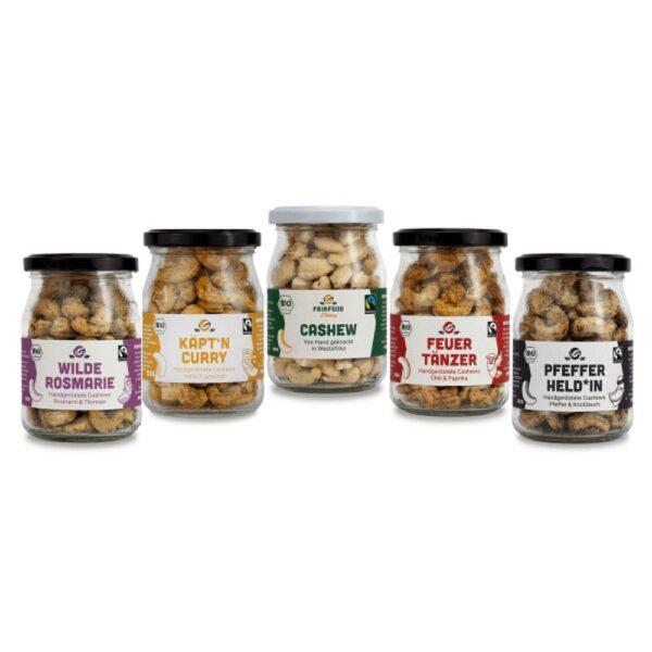 Cashewkerne Fairfood 5er Pack im Glas Verpackt