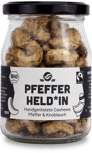 Fairfood Pfeffer und Knoblauch Cashews Röstung Pfefferheldin