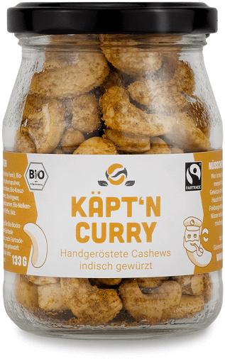Handgeröstete Fairfood Cashew Indische Roestung Kaeptn Curry